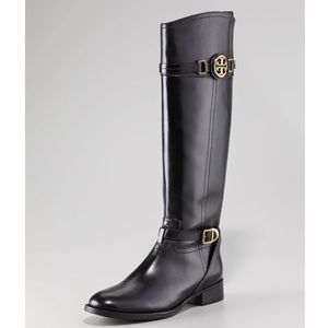 Tory Burch calista tall black leather riding boot